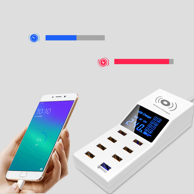 Thbelieve Multi USB Charger Mobile Phone Wireless Charging Station 8 USB HUB Wall Charge EU Plug Desktop Charge US UK Adapter (7)