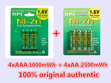 BPI 4Pc/1card 1.6V 2500mWh AA Batteries+4Pcs/1card 1000mWh AAA Batteries NI-Zn AA/AAA Rechargeable Battery