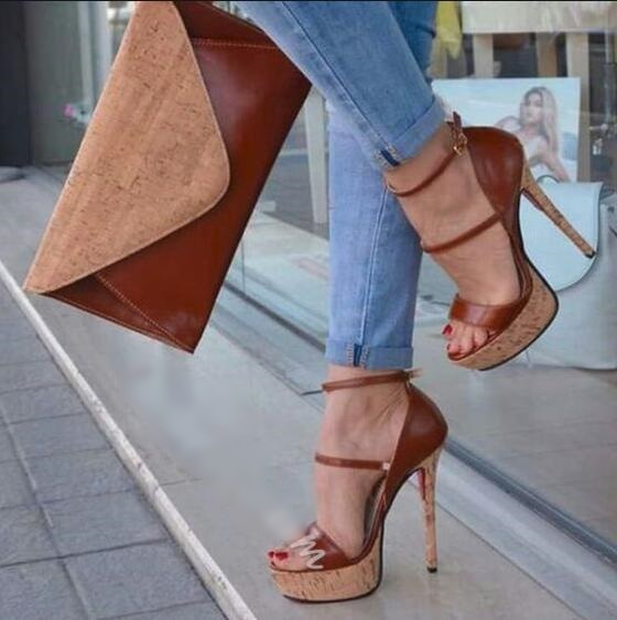 Трендовые женские босоножки на коричневом каблуке женские модельные туфли на платформе с открытым носком, с вырезами, с пряжкой и ремешком ...