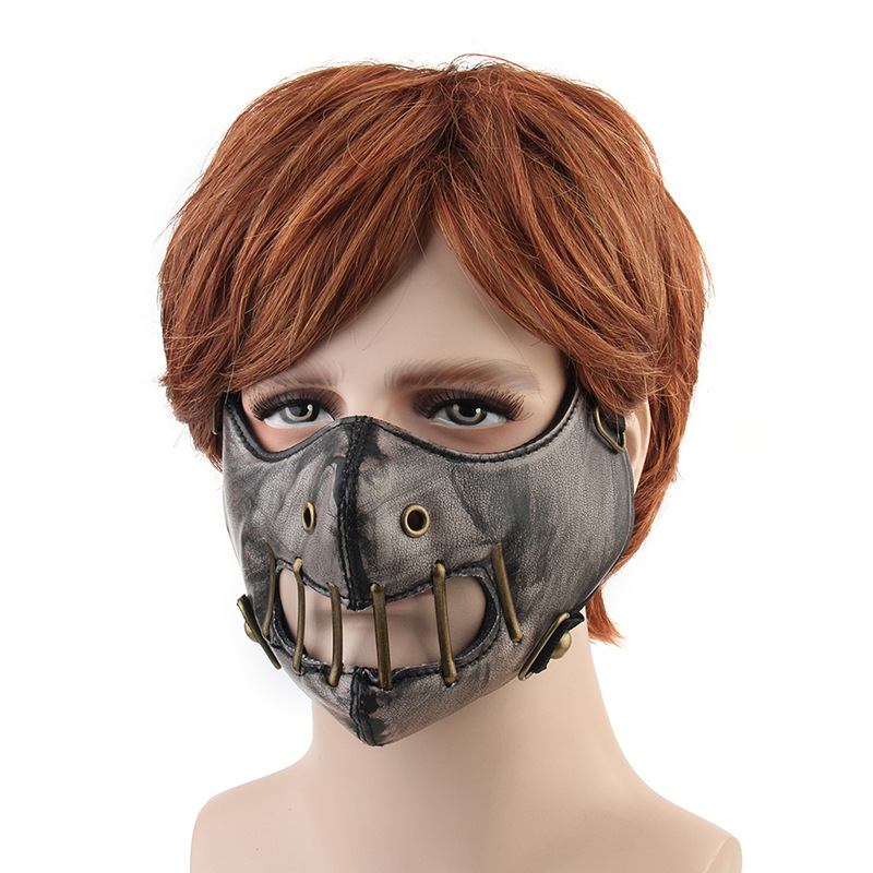 Unisex Steampunk Mask Gothic Punk Rivet Cosplay Face Mask Retro Mask Winter Warm Mask Windproof Helmet Cosply
