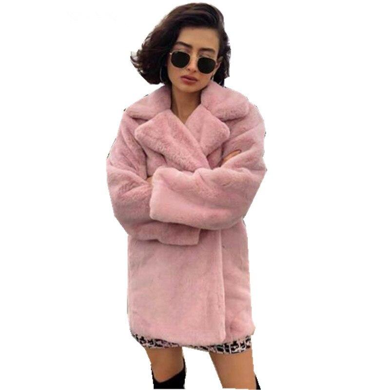 Col 2018 Faux Shaggy Rose Doux De Femmes Fourrure Manches Turn Longues Hiver down Manteau Furry Vestes Fausse Lapin Poilu qz8Ywq