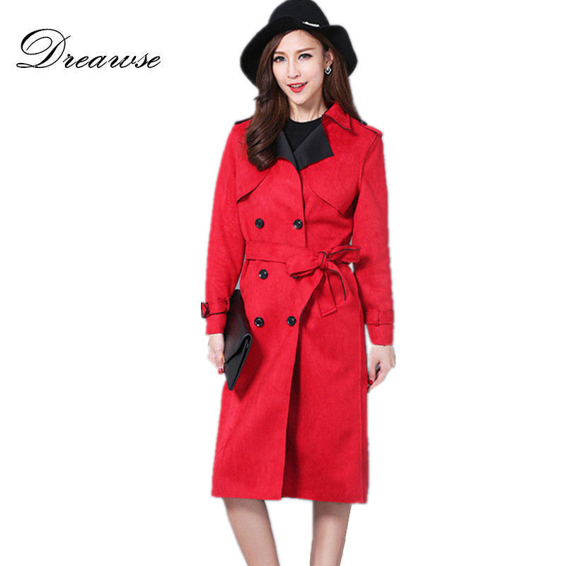 Dreawse Autumn Women Suede Coat Female Plus Size S-6XL Solid Color Long   Trench   Coat Slim Was Thin Femme Windbreaker MZ2877