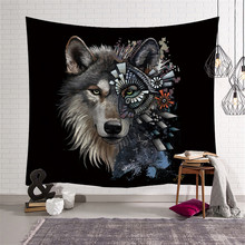17db4d43ad514 Creative Wolf Warrior Native American Wall Hanging Animal Sheets Indian  Wolf Tapestry Home Decor Beach Mat