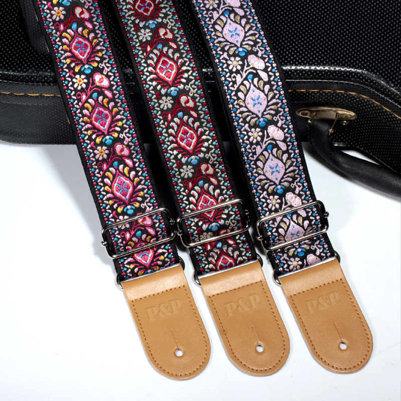 National Style Embroidery Jacquard Guitar Strap Electric Acoustic ukulele Folk Jazz Guitar Bass Musical Instrument Accessories