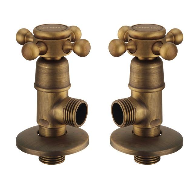 Usherlife 2pcs Antique Bronze Angle Valve Brass Bathroom Filling ...