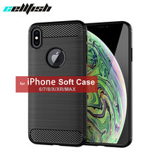 New Soft Cover for Coque iPhone XS MAX XR Silicone TPU Gel Phone Case for iPhone 8 Plus Funda for iPhone 7 6s Carbon Fiber Case(China)