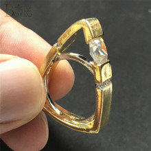 BOAKO Geometric Triangle Ring AAA Cubic Zirconia Rings for Women Simple Gold Color Wedding Band Engagement Anillos Mujer