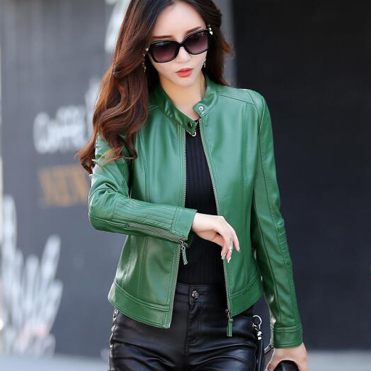 New 2019 fashion leather jacket women green spring and autumn short jackets female outerwear lady leather coat slim black leather jacket