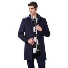 2016 зима новый мужская мода досуг шерсти пальто мужские длинные Смеси Шерстяная ткань пальто куртки, бесплатная доставка