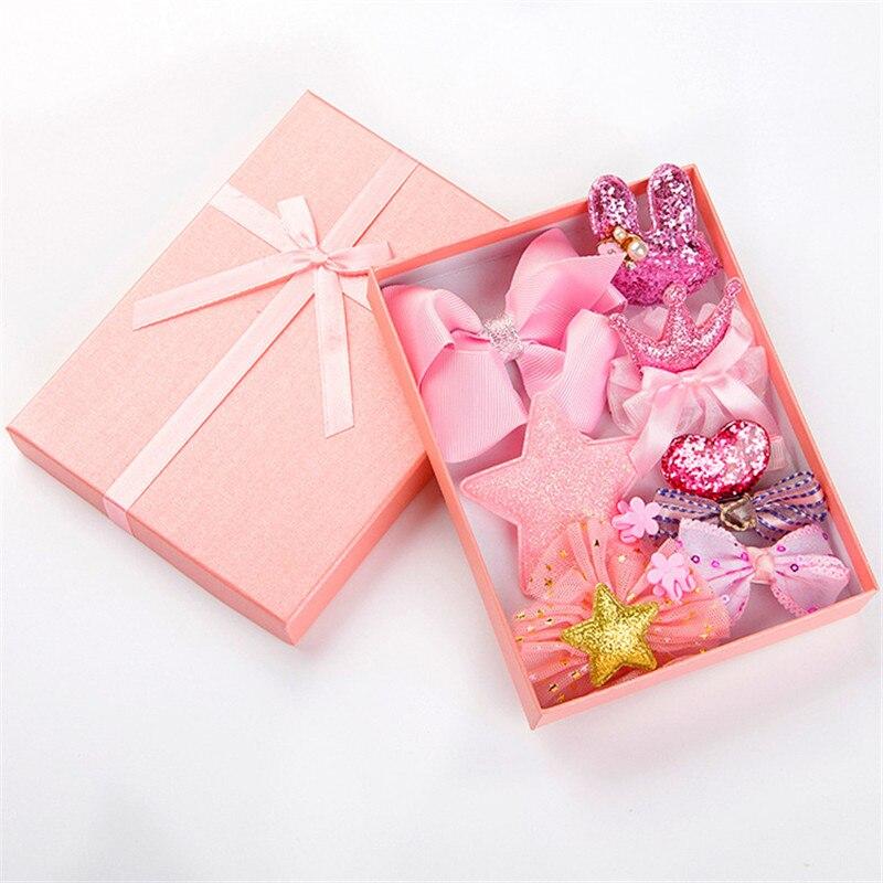 10pcs/ box Gifts Box Cute Crown Bowknot Kind Hairpin Set Flower Star Girls HairClip Hair Accessories   Headwear   Headband Hairgrip