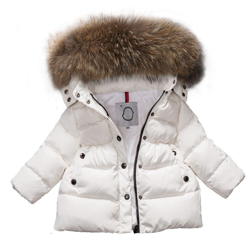 2018 Winter Baby Girls Boys Cotton Coat Children Real Racoon Fur Hooded Jacket Kids Warm Thick Winter Outewear High Quality недорго, оригинальная цена