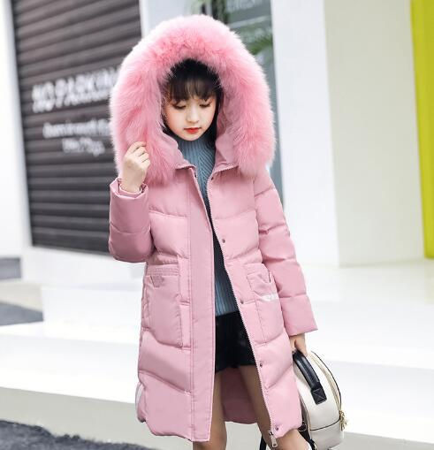Children's duck down jacket for Girl clothes Outerwear fur long warm baby jackets girls Winter coat Cold parka -30 degree 2018 cold winter warm thick baby child girl hoody long outerwear pink duck down