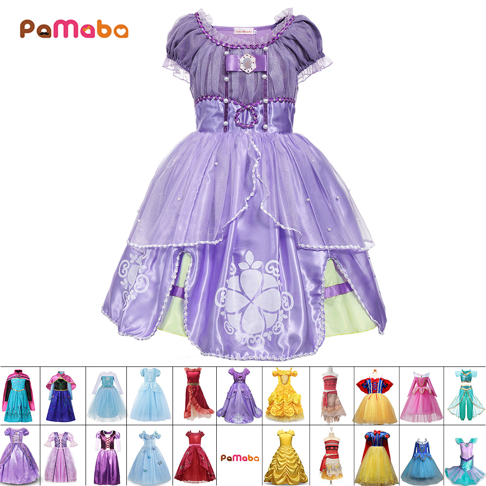 PaMaBa Baby Girl Clothes Kids Princess Cosplay Costumes Dresses Children Halloween Sofia Rapunzel Cinderella Elsa Anna Belle нож morakniv service knife длина лезвия 43мм