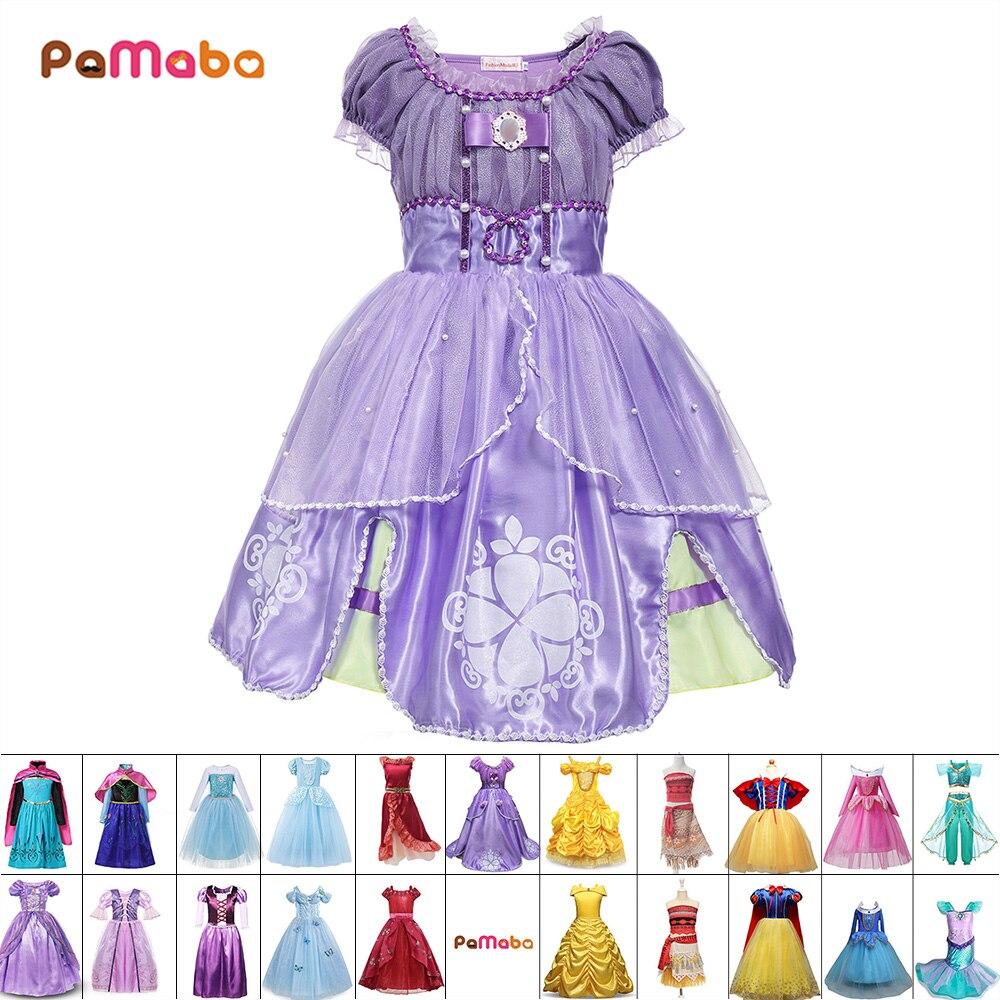 PaMaBa Baby Mädchen Kleidung Kinder Prinzessin Cosplay Kostüme Kleider Kinder Halloween Sofia Rapunzel Cinderella Elsa Anna Belle