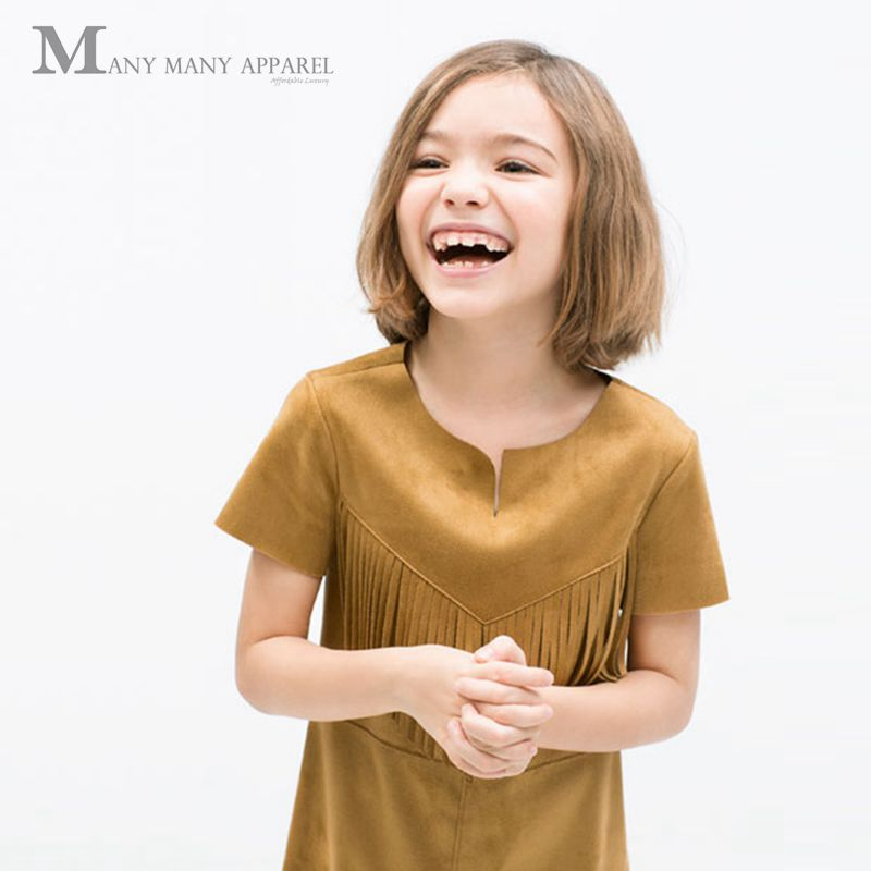 Retail 2016 Girls Double Tassels Suede Dress Curved Hem Kids Apparel Party Children Clothing Clothes Light tan 2-8T