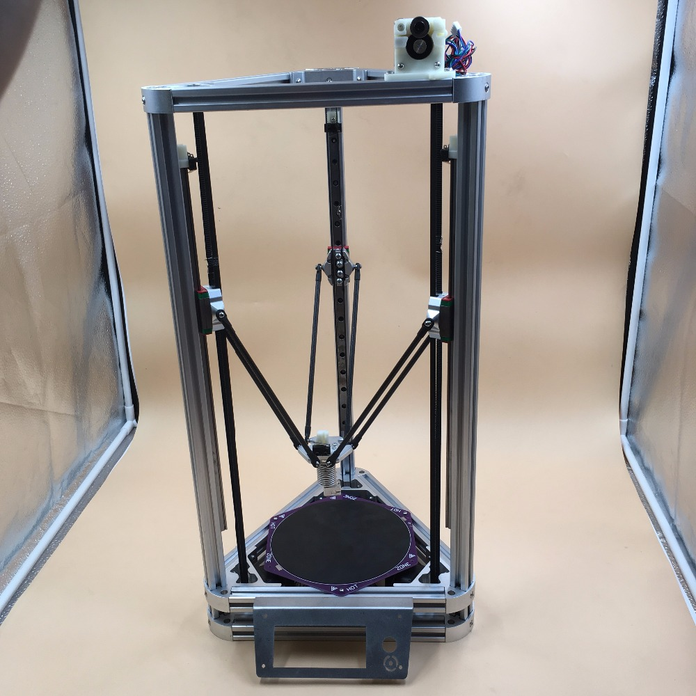 Blurolls All aluminum  DIY Reprap Kossel Rostock mini 3D Printer  Machanical Kit With Heated Bed,Auto Leveling linear guide with heated bed silver rostock kossel k800 xl 3d printer with hotbed machine 3d printer kit