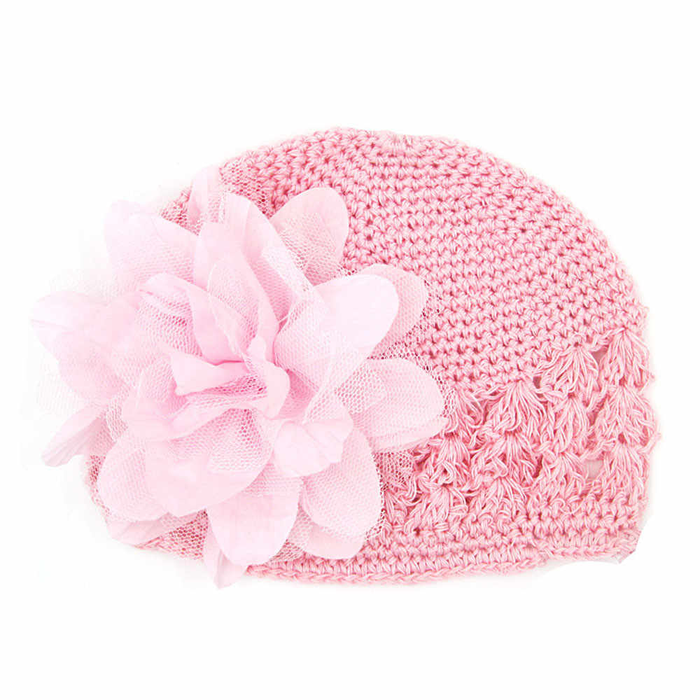 Toddlers Infant Baby Girl Fashion Flower Hollow Out Hat Headwear Knitted Soft Comfortable Cute Newborn Toddler Kids for 6M-3T
