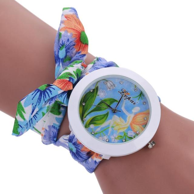 New Women Watch Fashion Casual Fabric Flower Bracelet Watch Dress Female Girl Vi