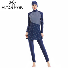 Muslimah HAOFAN Modest Swimwear Muçulmano Hijab Mulheres Plus Size Natação Desgaste Islâmico Maiô de Surf Wear Esporte Curta mangas compridas Burkinis