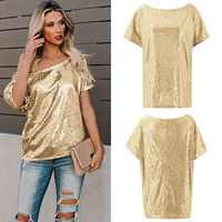Sequin shirt silver sequin top Tee club Women Shirt Camiseta Mujer 2019 Verano Short Sleeve blusas feminina Pink Black Gold Blue