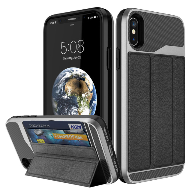 brand new e2c76 73d27 US $11.41  For iPhone X Case with Card Holder,WEFOR Wallet Case with Credit  Card Holder Slim Leather Shockproof Protective Case For iPhoneX-in Fitted  ...