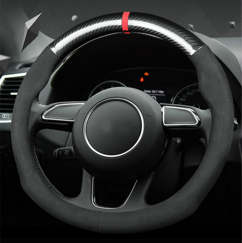 38cm Carbon Fiber Suede Leather Car Steering Wheel Covers 15 inch Universal Anti Slip Wheel Covers for Audi Car Accessories