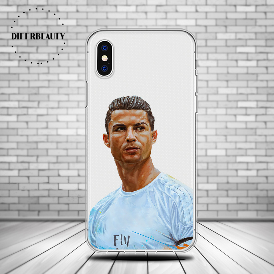 DIFFRBEAUTY Soccer CR7 Cristiano Ronaldo Soft Silicone Phone Cases Cover For iphone 6 6S 7 8 plus 5S SE X Capinha