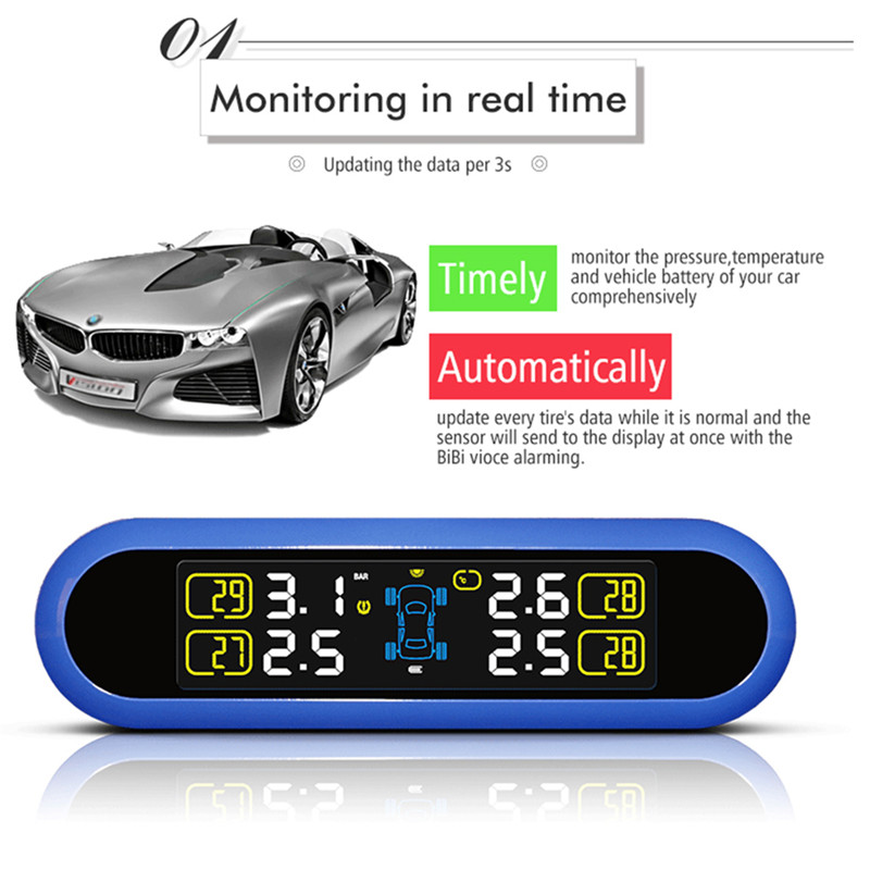 4 Sensor Car Alarm System TPMS Tire Pressure Alarm Monitor System Solar Energy LED Display Screen Wireless TPMS tpms tire pressure monitor system car alarm system diagnostic tool wireless solar powered color lcd display