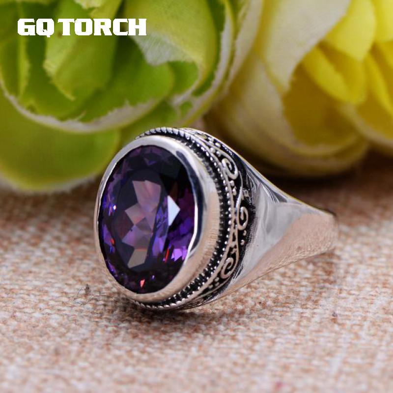 GQTORCH Natural Purple Amethyst Rings For Women 925 Sterling Silver Jewelry Vintage Thai Silver Flower Engraved Anelli Argento gqtorch natural purple amethyst rings for women 925 sterling silver jewelry vintage thai silver flower engraved anelli argento