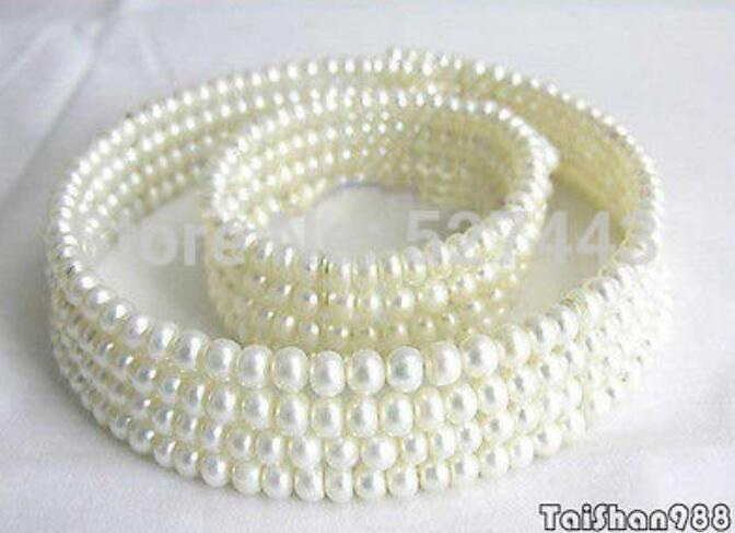 Wholesale free shipping >>>>>Beautiful Genuine 4 Rows White Pearl Necklace Bracelet SetWholesale free shipping >>>>>Beautiful Genuine 4 Rows White Pearl Necklace Bracelet Set
