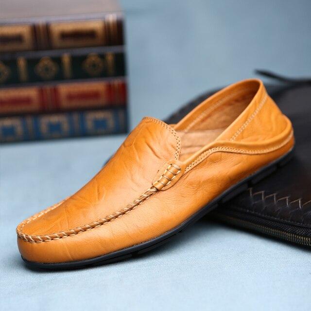 Luxe Causale Schoenen Mannen Leer Instappers Mocassins Mannelijke Sneakers Echt Lederen Boot Schoen Hoge Kwaliteit Adult Footwear Goedkope Schoen