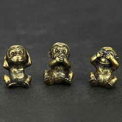 Bronze do vintage criativo bonito sentado macaco estátua mini escultura animal escritório em casa ornamento decorativo presente engraçado brinquedo