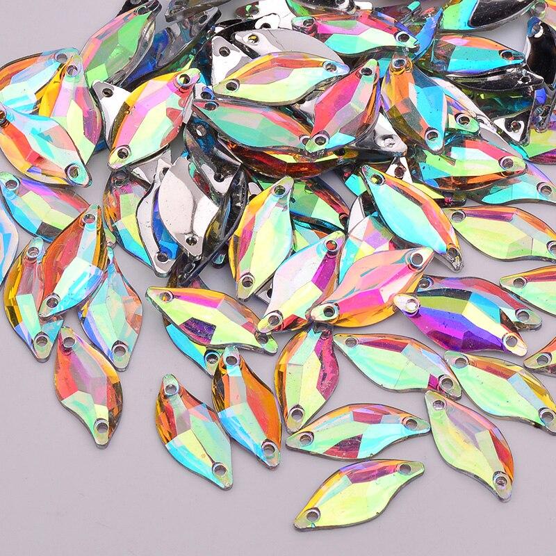 JUNAO 100 шт. 9 * мм 20 мм пришить Кристалл AB Стразы «лошадиный глаз» Flatback Необычные смолы кристалл камни записки бусины для DIY ремесла