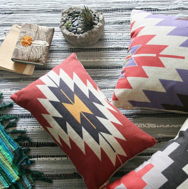 Turkish Kilim Geometric Linen Pillow Cushion Home Decorative Pillow For Office Chair Car Pillowcases Cushion