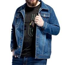 Новинка, большой размер, L-5XL, 6XL, 7XL, мужская синяя джинсовая куртка, весенняя, свободная, с большим отворотом, повседневная куртка, подходит для 130 кг, мужская одежда