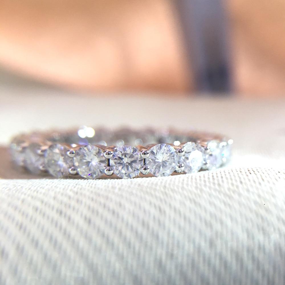 Твердое 14 к белое золото покрытое серебром 5 мм 4 мм 3 мм F цвет Муассанит Вечность Обручальное кольцо Муассанит кольцо для женщин дамское кол... - 3