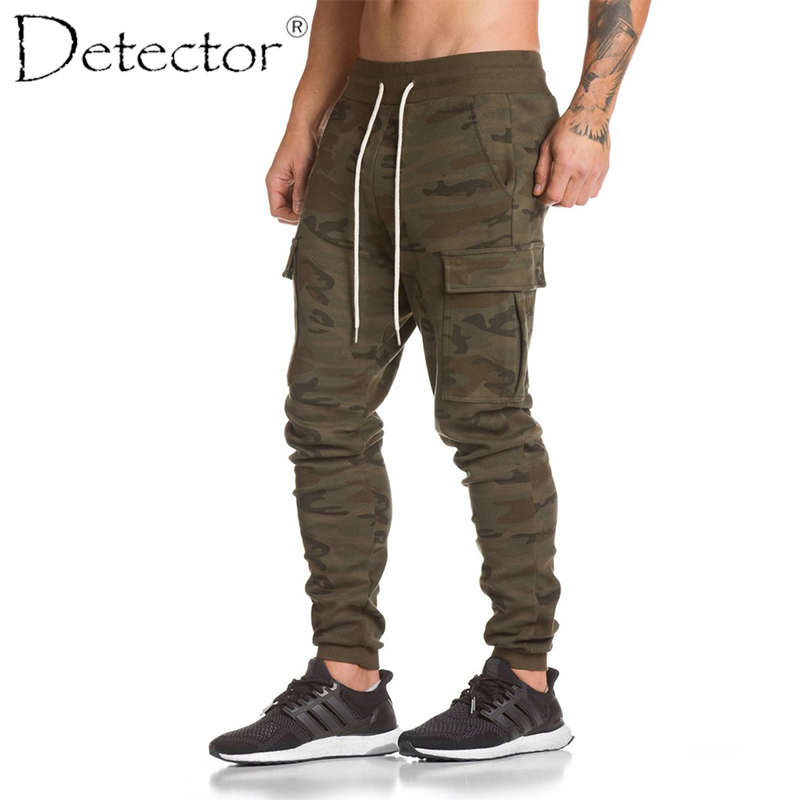 Détecteur hommes automne hiver course Fitness pantalon Sportwear élastique cordon pantalon Multi poche hommes plein air Sport vêtements