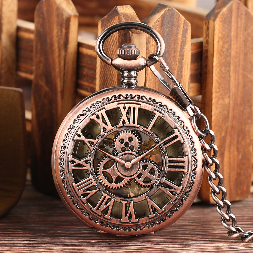 Fob Mechanical Hand Winding Pocket Watches With Chain Steampunk Necklace Gear Hollow Red Bronze Roman Numbers Unisex Watch reloj