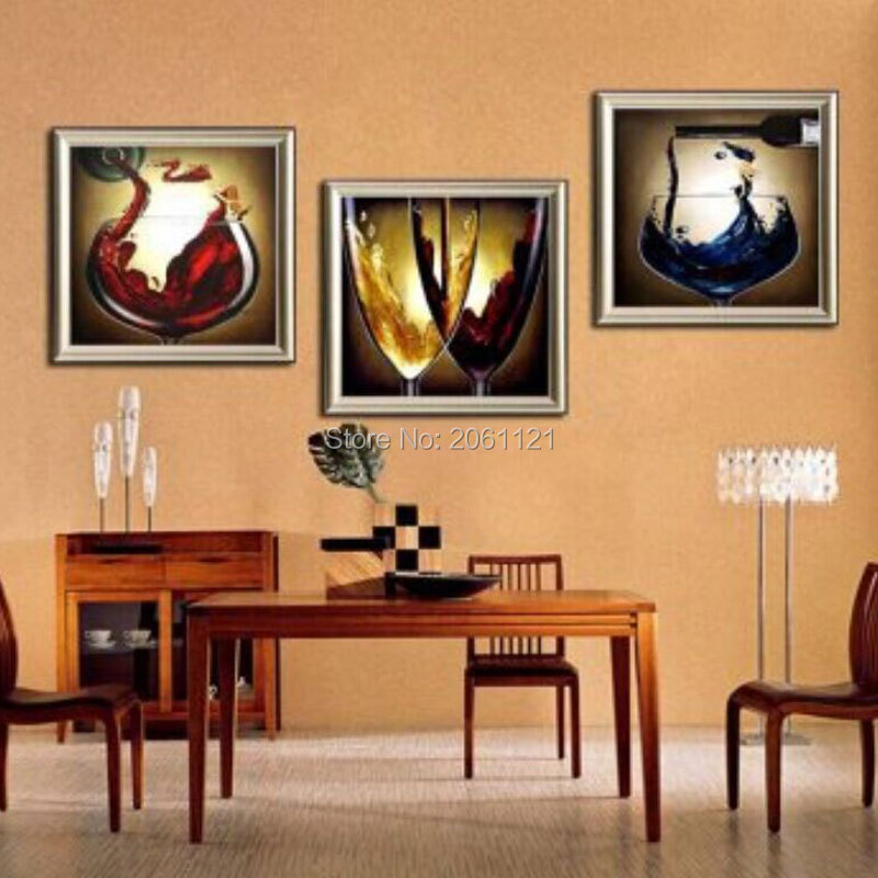 Hand Painted Modern Dining Room Decorative Oil Paintings Champagne Gl Wall Canvas Art Wine Life Painting Picture Decor In Calligraphy