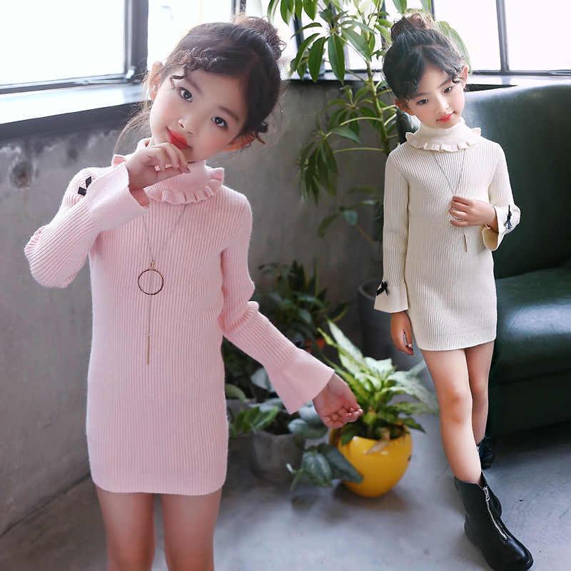 a636fc7717 ... Little Girls Sweater Dresses Winter Knitting Dresses Kids Girl Long  Sweaters 2019 Fall Big Girls Long ...