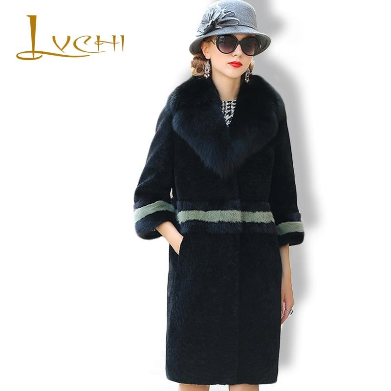 LVCHI Musim Dingin perempuan Mantel Bulu Nyata Kulit Hitam Putih Mink - Pakaian Wanita - Foto 1