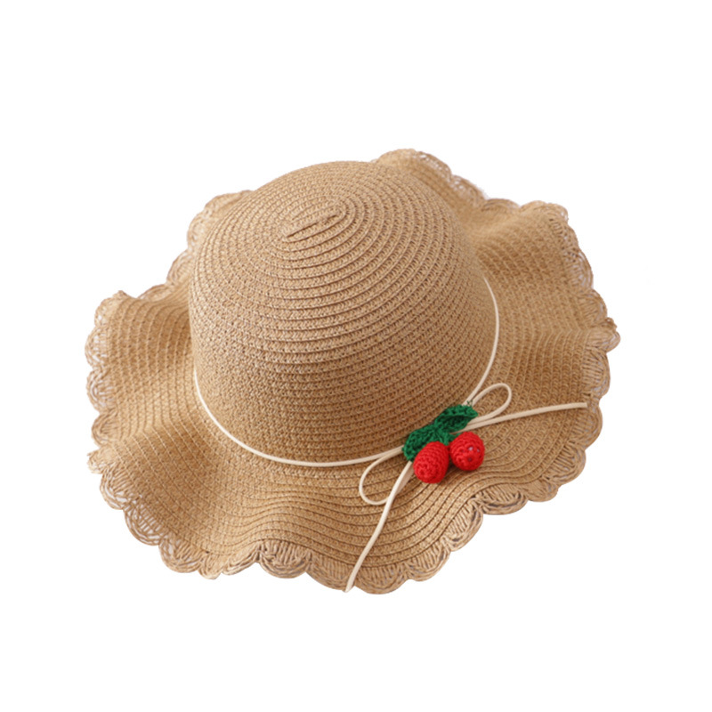 ae363016 Summer new girls cute cherry decorative straw hat Children's bag princess  outdoor beach straw hat-in Hats & Caps from Mother & Kids