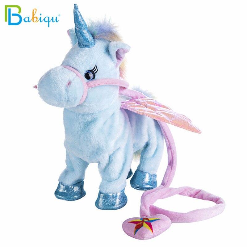 Babiqu 1pc Electric Walking Unicorn Plush Toy Stuffed Animal Toy Electronic Music Unicorn Toy for Children Christmas Gifts 35cm 1