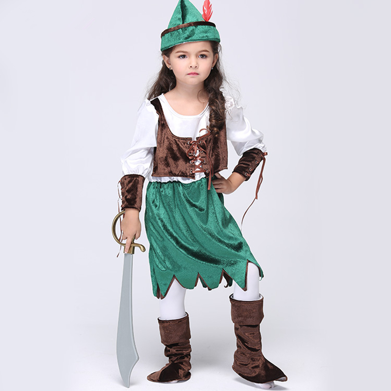 Halloween Costume for Kids Girls Pirate Costume Girls Forest Hunter Peter Pan Little Princess Costume