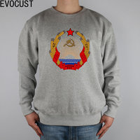 Cccp Latvia Ssr Coat Of Arms men Sweatshirts Thick Combed Cotton