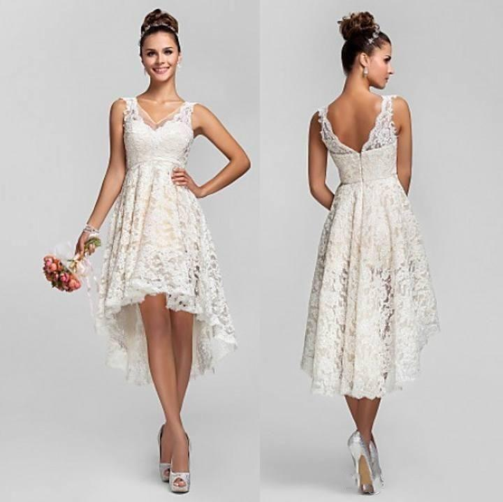Country Spaghetti Short Hi Lo Tea Length Bride Wedding Dresses