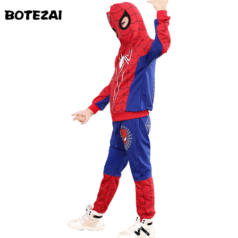 New <font><b>Spiderman</b></font> Baby <font><b>Boys</b></font> Clothing Sets Cotton Sport Suit For <font><b>Boys</b></font> Clothes Spring Spider Man Cosplay <font><b>Costumes</b></font> KIds Clothes Set