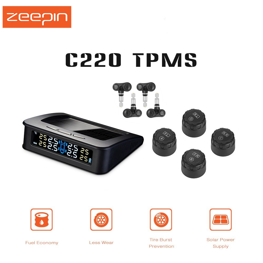 ZEEPIN C220 Solar System TPMS Smart Car Powered Electronic Data Tire Pressure Monitoring Systems With 4 External/Internal Sensor