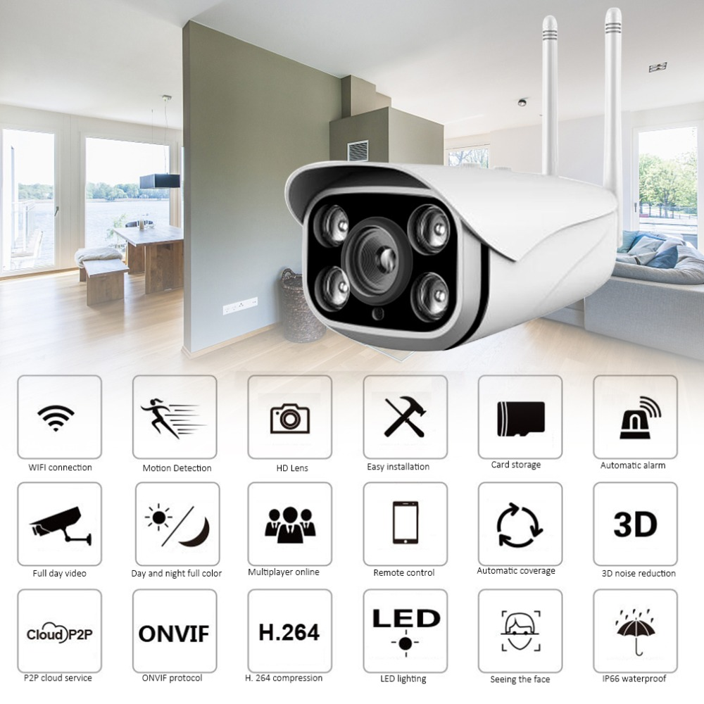 Wifi Camera Outdoor Waterproof 1080P HD 2MP Security Camera Motion Detection Night Vision Gun-type P2P ONVIF CameraWifi Camera Outdoor Waterproof 1080P HD 2MP Security Camera Motion Detection Night Vision Gun-type P2P ONVIF Camera