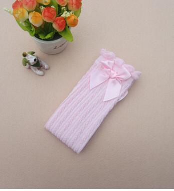 Гетры для девочек; хлопковые корейские милые кружевные Гольфы с бантом для маленьких девочек; гетры принцессы; Танцевальные чулки для девочек - Цвет: Pink bow front